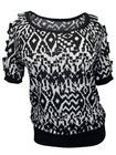 Plus Size Cut Out Shoulder Top Abstract Print