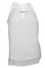 Plus Size Sleeveless Necklace Accented Top White