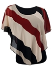 Plus Size Layered Poncho Top Stripe Print Burgundy
