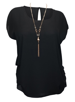 Plus size Keyhole Back Top Black