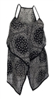 Plus Size Sheer Abstract Print Sleeveless Top Black