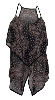 Plus Size Sheer Abstract Print Sleeveless Top Brown