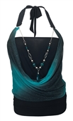 Plus size Glitter Print Necklace Accented O-ring Strap Top Teal