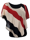 Plus Size Layered Poncho Top Stripe Print Red