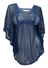Plus Size Sheer Crochet Poncho Top Navy