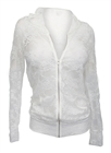 Plus Size Lace Zipper Front Hoodie Top White