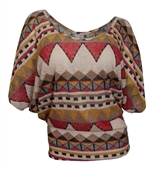 Plus Size Dolman Sleeve Top Abstract Print Red