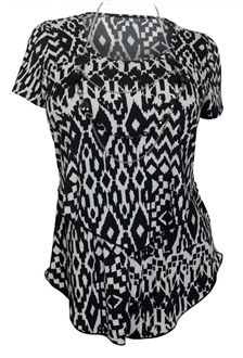 Plus size Layered Short Sleeve Top Abstract Print Black