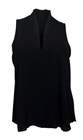 Plus Size Low Cut V-Neck Hi-Lo Sleeveless Blouse Black