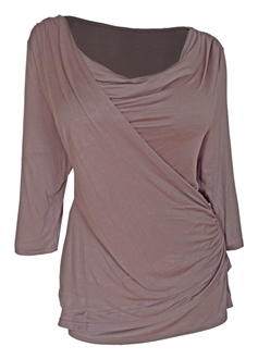 Plus Size Cowl Neck Drape Front Top Taupe