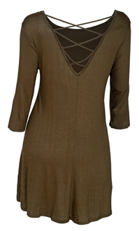 Plus Size Open Back Dress Top Olive