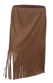 Plus Size Faux Suede Fringe Skirt Brown