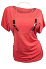 Plus Size Chain Necklace Accented Scoop Neck Top Orange