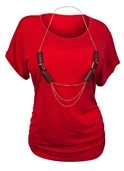 Plus Size Chain Necklace Accented Scoop Neck Top Red