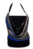 Plus size Glitter Print Necklace Accented O-ring Strap Top Stripe Print Royal Blue