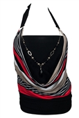 Plus size Glitter Print Necklace Accented O-ring Strap Top Stripe Print Red