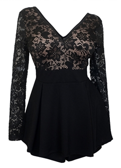 Plus size Lace Overlay Romper Dress Black