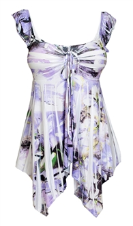 Plus size Deep V-neck Asymmetric Slimming Sublimation Print Top Floral Lavender