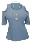 Plus Size Ribbed Off Shoulder Round Neck Top Blue