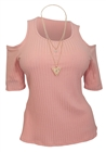 Plus Size Ribbed Off Shoulder Round Neck Top Pink