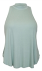 Plus Size Mock Turtleneck Sleeveless Peephole Back Top Sky Blue