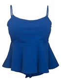 Plus Size Cropped Lace Up Peplum Tank Top Royal Blue