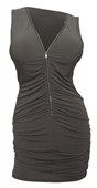 Plus size Zipper Front Ruched Mini Dress Olive