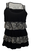 Plus Size Tiered Ruffle Tank Top Zebra Print Black