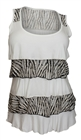 Plus Size Tiered Ruffle Tank Top Zebra Print White