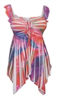 Plus size Deep V-neck Asymmetric Slimming Sublimation Print Top Pink 0610162