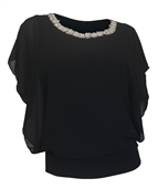 Plus Size Layered Necklace Accented Blouse Black