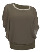 Plus Size Layered Necklace Accented Blouse Olive