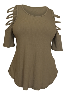 Plus Size Ribbed Cut Out Short Sleeve Top Olive