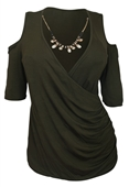 Plus Size Wrap Bodice Top with Necklace Detail Olive