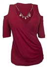 Plus Size Wrap Bodice Top with Necklace Detail Burgundy