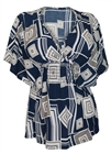 Plus Size Slimming V-neck Smocked Empire Waist Top Abstract Print Navy 9116