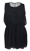 Plus size Sexy Open Back Chiffon Romper Black