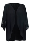 Plus Size Crochet Detail Open Front Cardigan Black