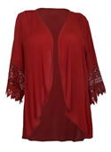 Plus Size Crochet Detail Open Front Cardigan Wine