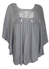 Plus Size Crochet Poncho Top Gray