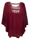 Plus Size Crochet Poncho Top Wine