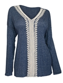 Plus Size Crochet Inset Long Sleeve Top Blue