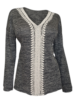 Plus Size Crochet Inset Long Sleeve Top Gray