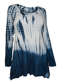 Plus Size Long Sleeve Tie Dye Tunic Top Blue