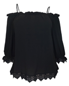 Plus Size Crochet Trim Off Shoulder Top Black