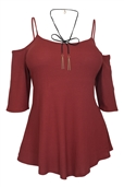 Plus Size Spaghetti Strap Off Shoulder Blouse Brick Red