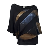 Plus Size Sequin Detail Diagonal Hem Scoop Neck Top Black 161110