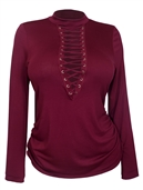 Women's Mock Neck Lace Up Long Sleeve Top Wine
