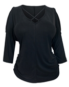 Women's Criss Cross String Cold Shoulder Top Black