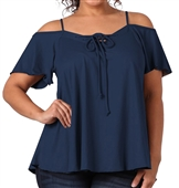 Women's Lace Up Cold Shoulder Top Navy 17117
